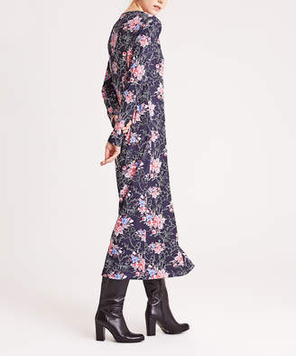 Simmly Women's Casual Dresses Dark - Dark Blue & Pink Floral Maxi Dress - Women