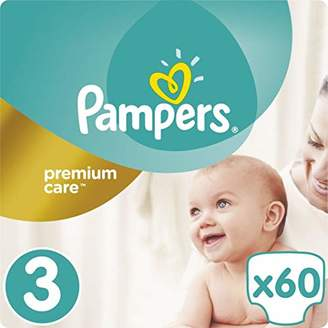 Pampers Premium Care 3 60pc (S) - Disposable Diaper Nappy, White)