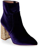 Betsey Johnson Purple Kasey Glitter Heel Velvet Booties
