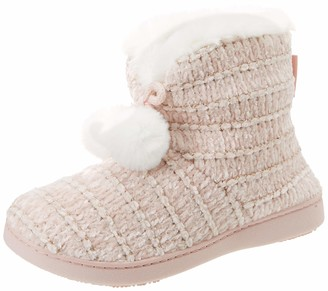 Isotoner Women's Chenille Boot Poms Slippers Low-Top