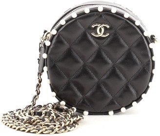 Chanel Round Clutch with Chain Quilted Calfskin with Pearl Detail