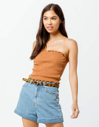 Sky And Sparrow Ribbed Lettuce Edge Camel Womens Tube Top