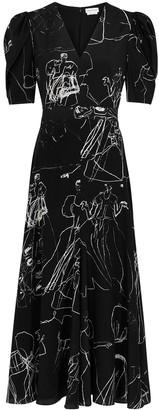 Alexander McQueen Black printed silk dress