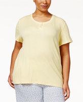 Nautica Plus Size Henley Ribbed Knit Pajama T-Shirt