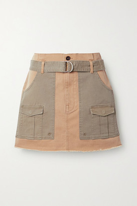 Frame Belted Frayed Two-tone Stretch-cotton Twill Mini Skirt - Sand