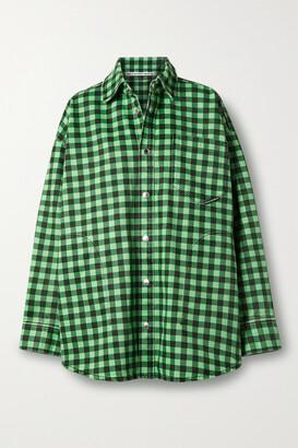 Alexander Wang - Oversized Gingham Denim Jacket - Green