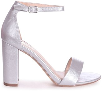 Linzi SELENA - Silver Nappa Barely There Block High Heel