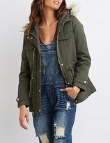 Charlotte Russe Faux Fur Hooded Anorak Jacket