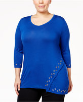 Belldini Plus Size Embellished Asymmetrical Top