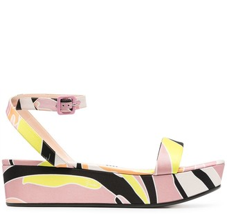 Emilio Pucci Abstract-Print Flatform Sandals