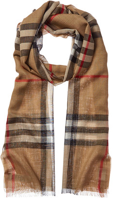 Burberry Lightweight Check Wool & Silk-Blend Scarf