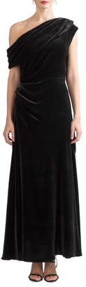 Shoshanna Goldie One-Shoulder Velvet Dress