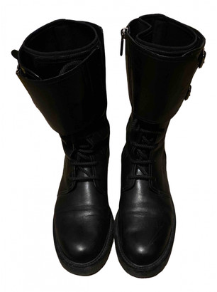 Christian Dior Ground Black Leather Ankle boots