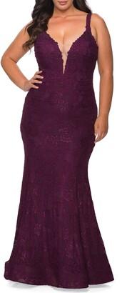 La Femme Embellished Lace Trumpet Gown