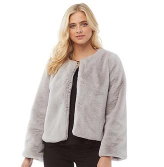 Fluid Womens Short Faux Fur Jacket Grey
