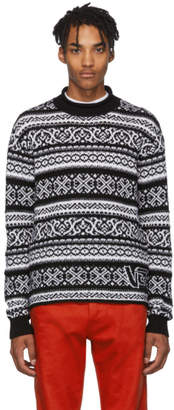 Versace Black and White Jacquard Sweater
