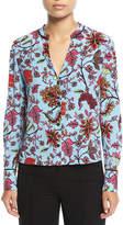 Diane von Furstenberg Long-Sleeve V-Neck Silk Shirt