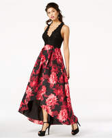 Jump Juniors' Sequined Lace and Floral-Print Gown