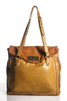 Be And D Brown Beige Leather Color Block Pocket Front Tote Handbag
