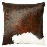 Divine Designs Dexter 18x18 Hide Pillow, Brown/White
