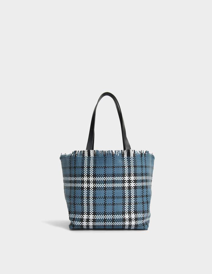 Gerard Darel Mini Simple 2 Tote Bag in Blue, Off White and Black Embossed Calfskin
