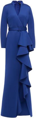 Badgley Mischka Belted Ruffled Scuba Gown