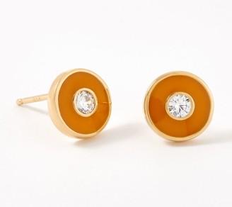 Diamonique Neon Enamel Button Stud Earrings, Sterling Silver