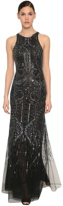 Roberto Cavalli Bead & Sequin Embellished Chiffon Dress