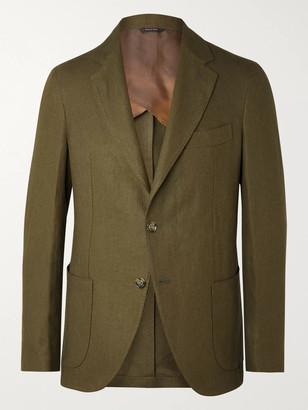 Loro Piana Army-green Slim-fit Unstructured Linen Blazer - Green