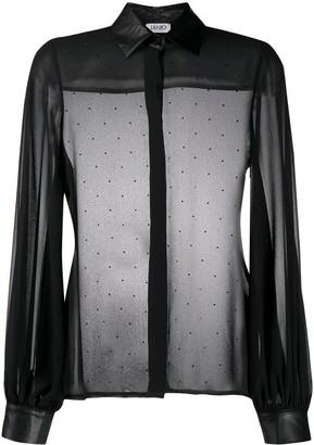 Liu Jo Semi-Sheer Puff-Sleeve Top