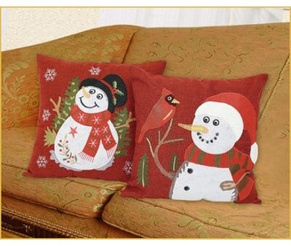 Violet Linen Seasonal Cardinal Christmas Snowflakes Throw Pillow