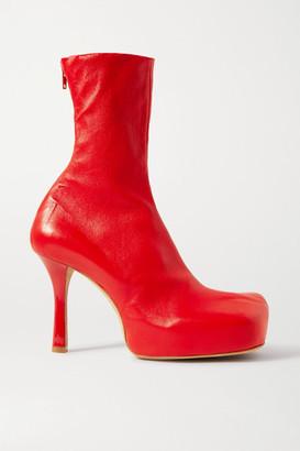 Bottega Veneta Leather Platform Ankle Boots - Red