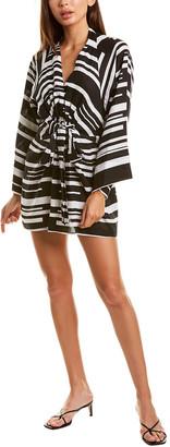 Donna Karan Tie-Front Linen Mini Dress