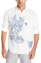 Cubavera Men's Engineered Floral Printed Long Sleeve Woven Shirt