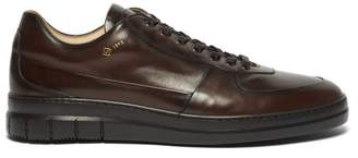 Dunhill Duke City Leather Low-top Trainers - Mens - Dark Brown