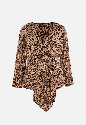 Missguided Plus Size Brown Leopard Print Tie Waist Blouse