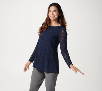 Susan Graver Stretch Lace Peplum Tunic with Knit Lining