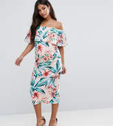 Asos Midi Bardot Pencil Dress with Ruffle in Floral Print