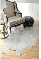 nuLoom Hand-picked Brazilian White Devour Cowhide Contemporary Rug (5' x 7')