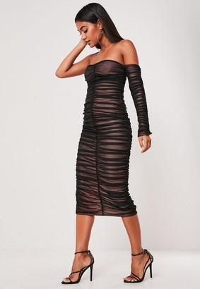 Missguided Black Mesh Ruched One Sleeve Midi Dress