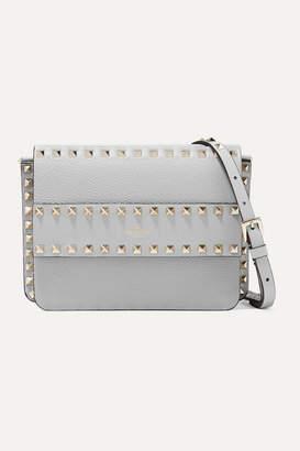Valentino Garavani The Rockstud Textured-leather Shoulder Bag - Gray