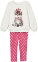 Kids Headquarters White Kitten Sweatshirt & Pink Leggings - Toddler