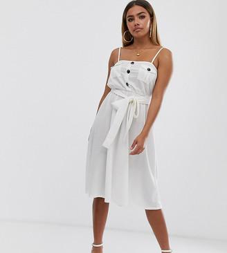 Asos DESIGN Petite midi utility cami dress in white