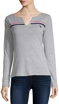 U.S. Polo Assn. Womens Y Neck Long Sleeve T-Shirt Juniors