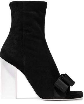 Lanvin Bow-embellished Suede Ankle Boots
