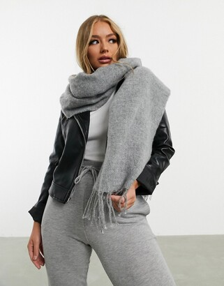 Asos Design DESIGN supersoft long woven scarf with tassels in gray
