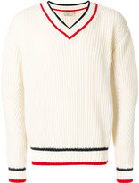 MAISON KITSUNÉ striped detail V-neck jumper