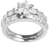 Journee Collection 2 1/8 CT. T.W. Round-Cut CZ Prong Set Wedding Ring Set in Sterling Silver