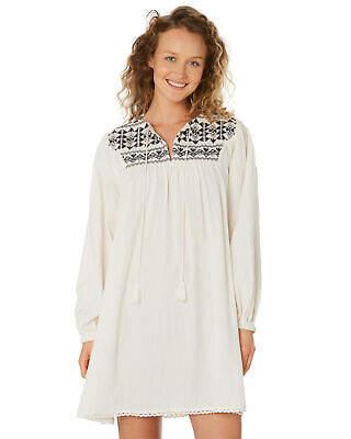 Helena New Saint Women's Pilgramidge Smock Dress V-Neck Cotton White