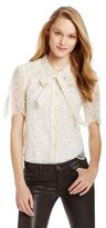 Anna Sui Women's Floral Embroidered Organza Tie Front Shirt